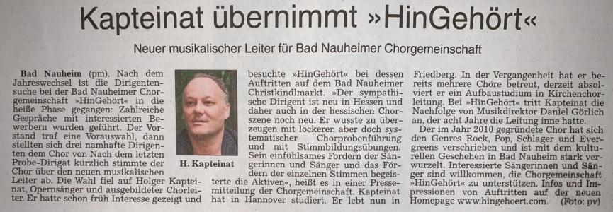 Neuer musikalischer Leiter Holger Kapteinat