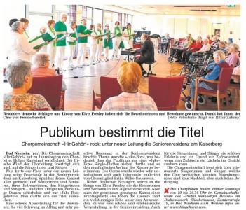 Bericht zum Konzert in der Seniorenresidenz am Kaiserberg© Wetterauer Zeitung 26.4.2019