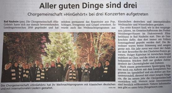 Bericht zum dritten Advent © Wetterauer Zeitung 24.12.2019